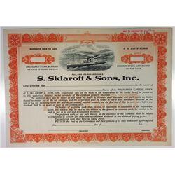 S. Sklaroff & Sons, Inc., 1920s Specimen Stock Certificate