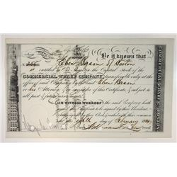 Commercial Wharf Co., 1884 Issued Stock Certificate