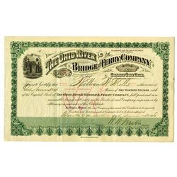 Ohio River Bridge and Ferry Co., 1906 Stock Certificate.