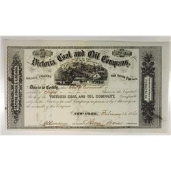 Victoria Coal & Oil Co., 1860 Issued Stock Certificate