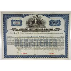American Writing Paper Co., 1919 Specimen Bond