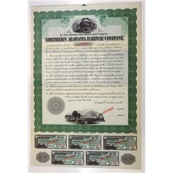 Northern Alabama Railway Co., 1898 Specimen Contract  & Coupon Sheet
