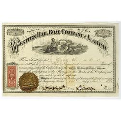 Western Rail Road Company of Alabama, 1871 I/C Stock Certificate.