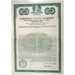 Canadian Pacific Railway, 1950s Specimen Bond