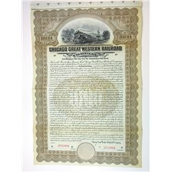 Chicago Great Western Railroad Co. 1909 $1000 Specimen 4% Gold Coupon Bond Reinforced Folds
