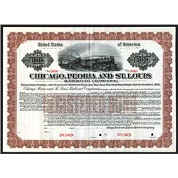 Chicago, Peoria and St. Louis Railroad Co. 1913 Specimen Bond.