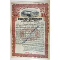 St. Louis, Peoria & North Western Railway Co., 1913 Specimen Bond