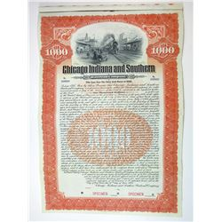 Chicago, Indiana & Southern Railroad Co. 1906 $1000 Specimen Gold Coupon Bond