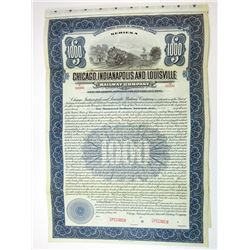 Chicago, Indianapolis & Louisville Railway Co. 1916 $1000 Specimen Gold Coupon Bond
