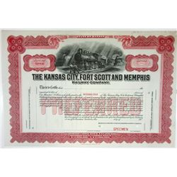 Kansas City, Fort Scott & Memphis Railway Co., 1930-1940 Specimen Stock Certificate