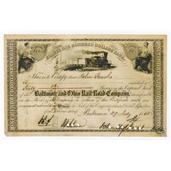 Baltimore & Ohio Rail Road Co., 1858 Stock Certificate Signed by John Hopkins as President.