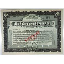 Hagerstown & Frederick Railway Co., 1930s Specimen Stock Certificate