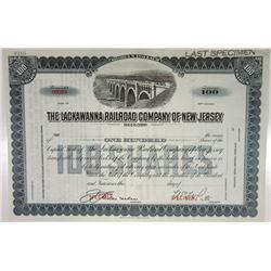 Lackawanna Railroad Co. of New Jersey, 1912 Specimen Stock Certificate