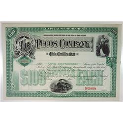 Pecos Co., ca.1880-1900 Specimen Stock Certificate