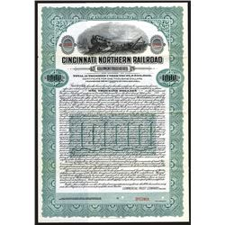 Cincinnati Northern Railroad Equipment Trust of 1915 Specimen Bond.