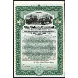 Toledo Terminal Railroad Co. 1907 Specimen Bond.