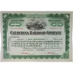 Catawissa Railroad Co., 1950s Specimen Stock Certificate