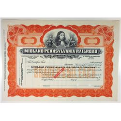 Midland Pennsylvania Railroad Co., 1930s Specimen Stock Certificate