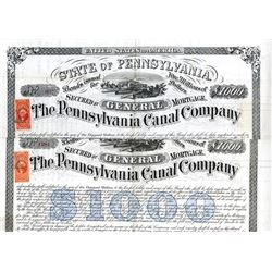 Pennsylvania Canal Co., 1870 Issued Bond Pair Signed by Alfred Mordecai.