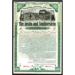 Austin and Northwestern Rail Road Co., 1891 Specimen Bond.
