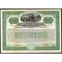 Norfolk Southern Railroad Co. Specimen Bond.