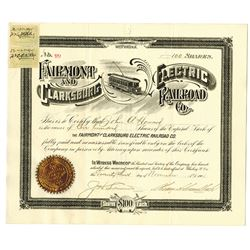 Fairmont and Clarksburg Electric Railroad Co., 1901 Stock Certificate.