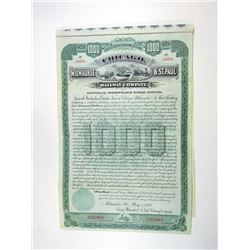 WI. Chicago, Milwaukee & St. Paul Railway Co., 1889 $1,000 Specimen Bond - Green