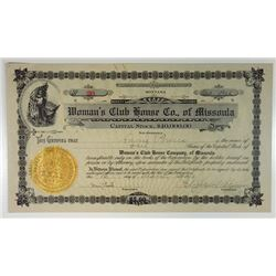 Woman's Club House Co. of Missoula, 1910 Issued Stock Certificate