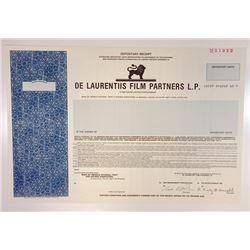 De Laurentis Film Partners LP, 1989 Specimen Stock Certificate