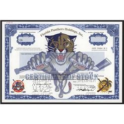 "Florida Panthers Holdings, Inc, 1990's Specimen ""Hockey Team"" Stock Certificate."