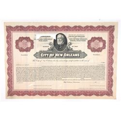 City of New Orleans, 1928 Specimen Registered Bond Used by the Production department with Minor Elem