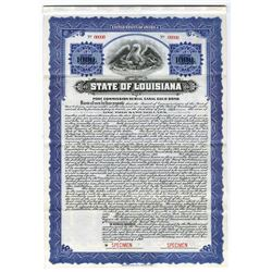 State of Louisiana, 1919 Specimen Bond