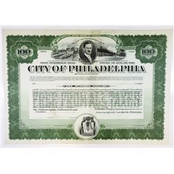 City of Philadelphia, 1920 Specimen Bond
