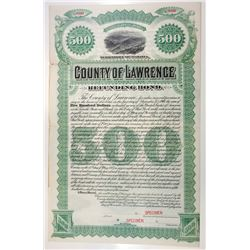 County of Lawrence, 1887 Specimen Bond