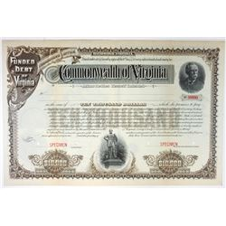 Commonwealth of Virginia, 1891 Specimen Bond