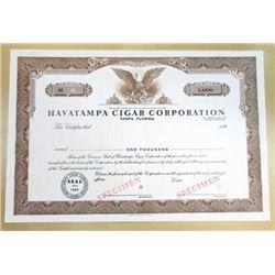 Havatampa Cigar Corp., Common Stock Specimen Certificate