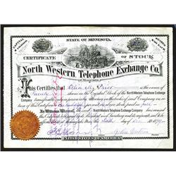 North Western Telephone Exchange Company of Minnesota Stock Certificate.