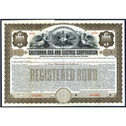 California, 1907, $1000, Unifying and Refunding Mortgage 5% 30 year Gold Specimen Bond, Coupons atta