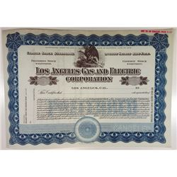 Los Angeles Gas & Electric Corp, 1909 Specimen Stock Certificate