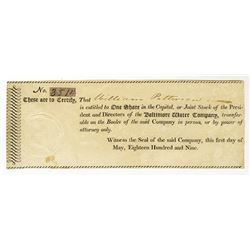 Baltimore Water Co., 1809 Issued Stock Certificate.