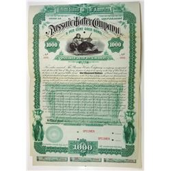 Passaic Water Co., 1887 Specimen Bond