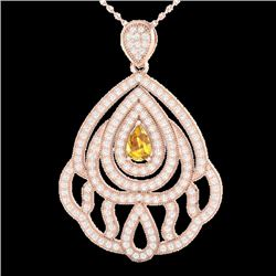 2 CTW Yellow Sapphire & Micro VS/SI Diamond Designer Necklace 14K Rose Gold - REF-178N2Y - 21276