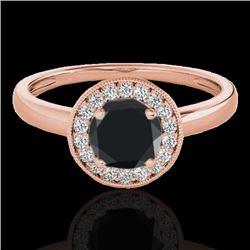 1.15 CTW Certified VS Black Diamond Solitaire Halo Ring 10K Rose Gold - REF-48Y2K - 33467