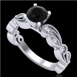1.01 CTW Fancy Black Diamond Solitaire Engagement Art Deco Ring 18K White Gold - REF-87F3N - 38269