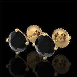 2.5 CTW Fancy Black Diamond Solitaire Art Deco Stud Earrings 18K Yellow Gold - REF-81X8T - 38250