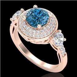 2.05 CTW Intense Blue Diamond Solitaire Art Deco 3 Stone Ring 18K Rose Gold - REF-300W2F - 38147