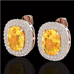 6 CTW Citrine & Micro Pave VS/SI Diamond Halo Earrings 14K Rose Gold - REF-118M2H - 20117