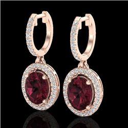 3.75 CTW Garnet & Micro Pave VS/SI Diamond Earrings Solitaire Halo 14K Rose Gold - REF-83F8N - 20324