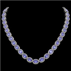 48.65 CTW Tanzanite & Diamond Halo Necklace 10K White Gold - REF-797K3W - 40562