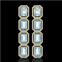 19.49 CTW Aquamarine & Diamond Halo Earrings 10K Yellow Gold - REF-323M5H - 41596